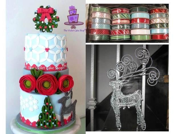 2013 Christmas Ranunculus & Silver Reindeer Cake