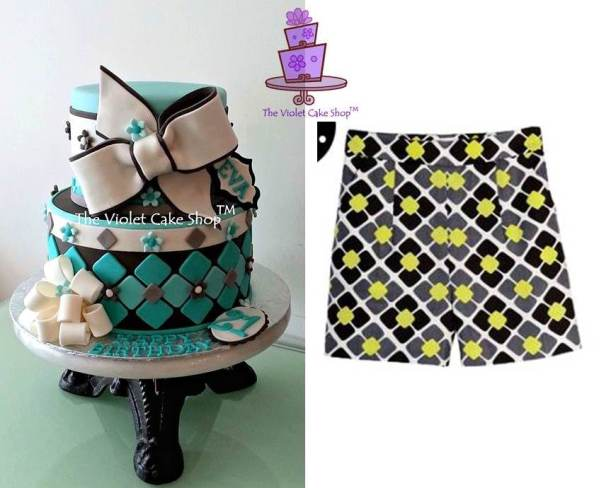 Eva's 21st Birthday Tiffany Blue & Bows pattern inspiration from those on shorts