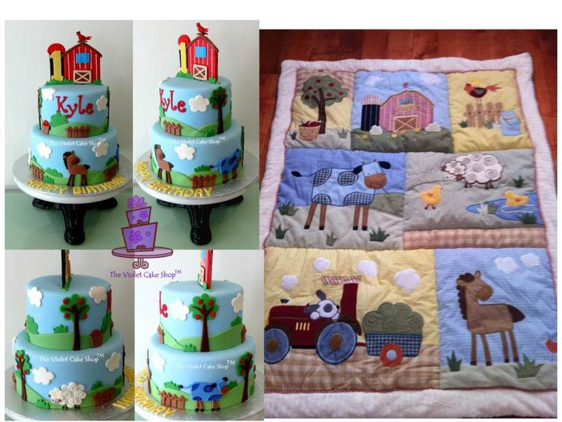 Kyle's Farm Cake Inspired by Farm Quilt