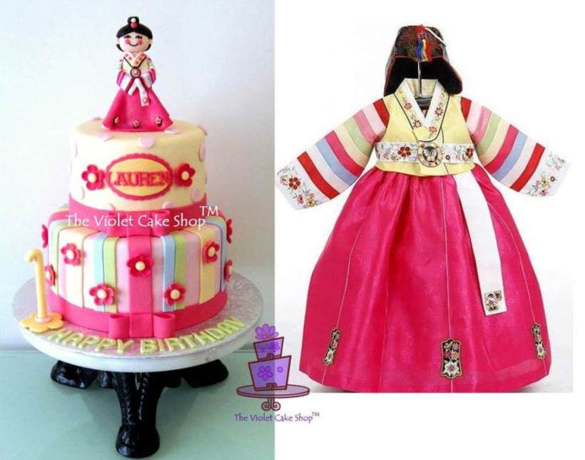 Lauren's Korean Doll Cake Inspired by her Hanbok