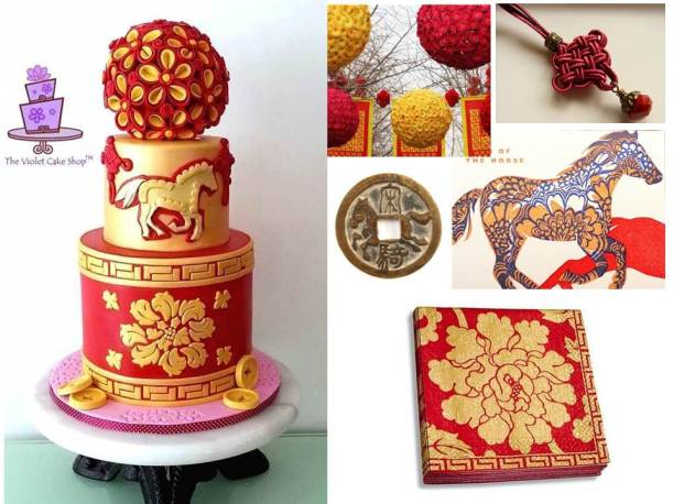 Year of the Horse CNY Celebration Cake - Inspired by Traditional CNY Elements