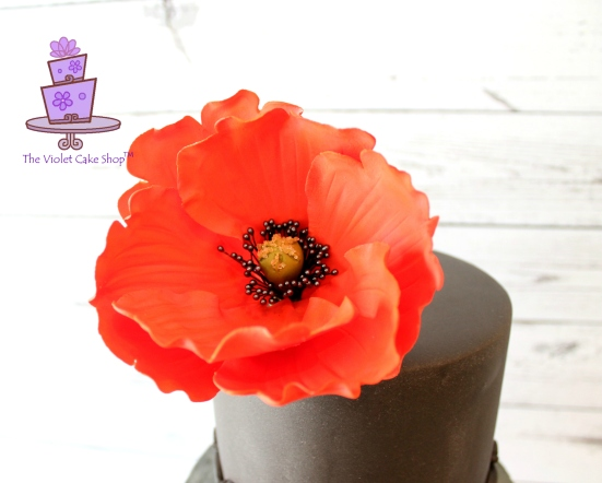Dan's 45th 2D-3D Poppy Inspired Cake - close up of 3D poppy - twmpm