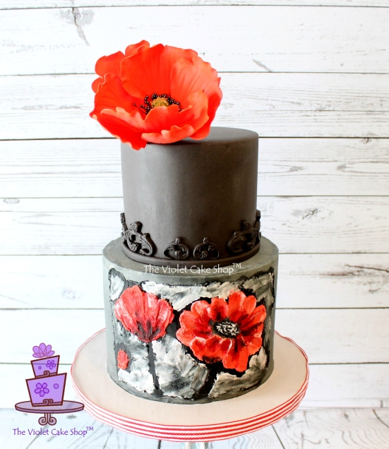 Dan's 45th 2D-3D Poppy Inspired Cake - cropped view - twmpm