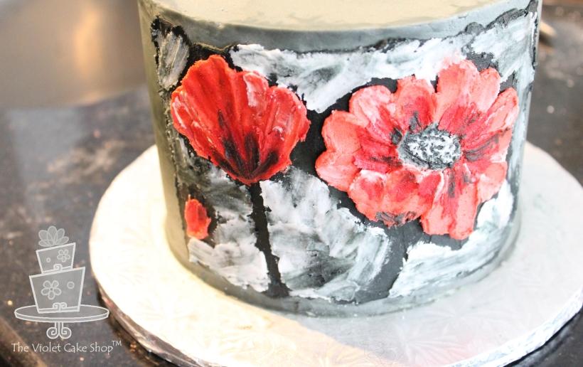Dan's 45th 2D-3D Poppy Inspired Cake - painting closeup.jpg