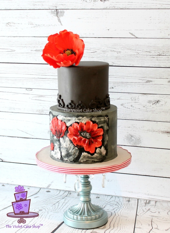 Dan's 45th 2D-3D Poppy Inspired Cake - side - twmpm