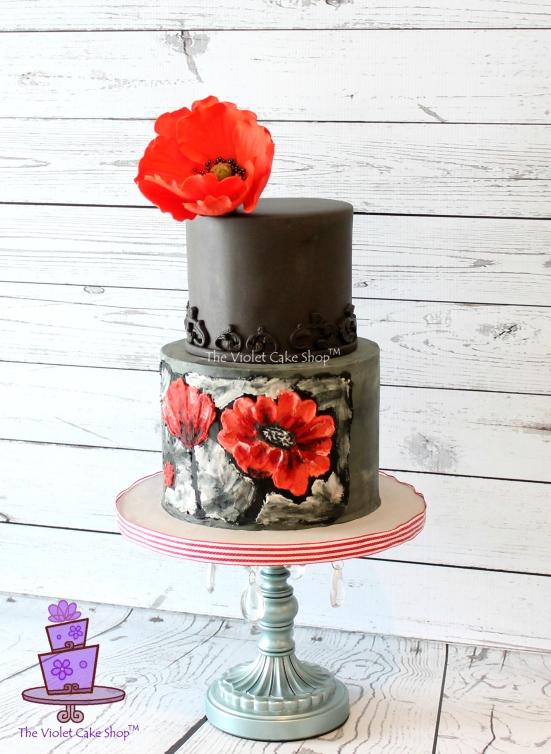 Dan's 45th 2D-3D Poppy Inspired Cake - side - twmpm