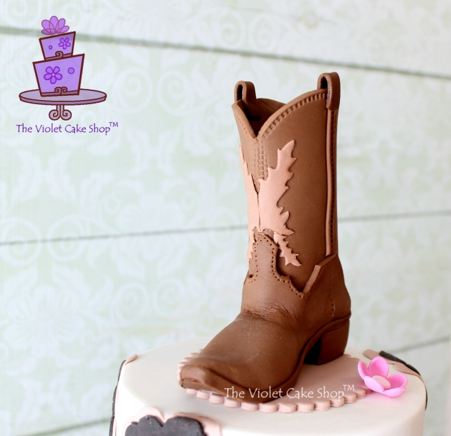 Girly Western Birthday Cake Plus Cowboy Boot Topper Pictorial