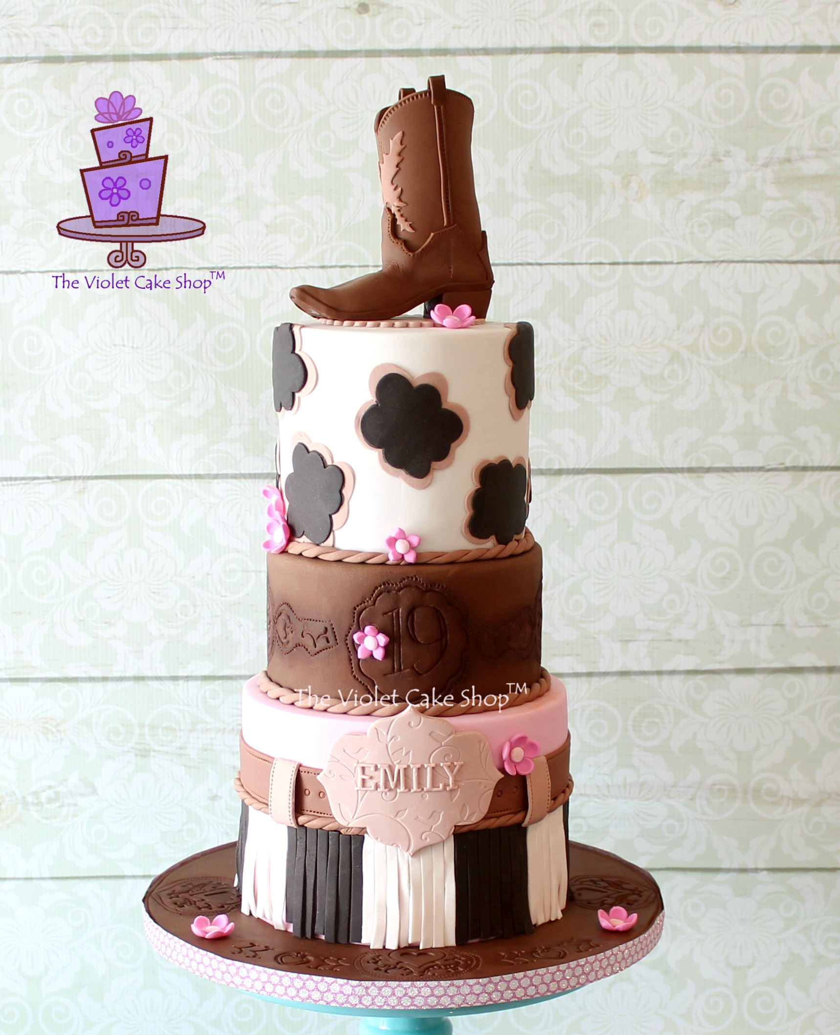 Girly Western Birthday cake plus Cowboy Boot Topper Pictorial The
