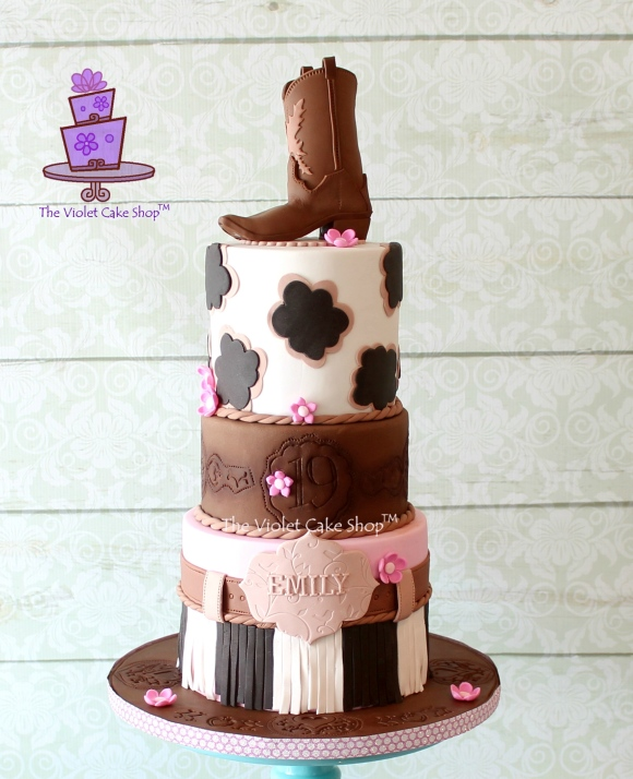 Outstanding Girly Western Birthday Cake Plus Cowboy Boot Topper Pictorial Funny Birthday Cards Online Aboleapandamsfinfo