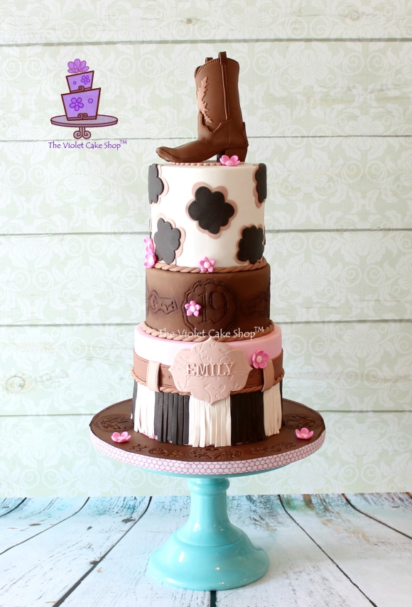 Girly Western Birthday Cake Plus Cowboy Boot Topper