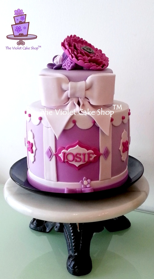 Jo's 26th - Vintage Purple Giftbox Style w Mixed Tiers & Big Flower Topper - wm TVCS - twmpm