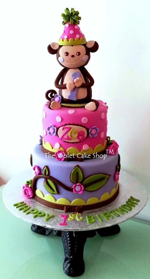 Zoe's 1st Birthday Party Hat Monkey - wm TVCS