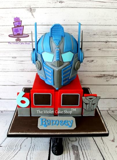 The Violet Cake Shop - Ramsey's 3D Optimus Prime Helmet Cake