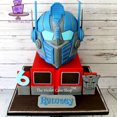 The Violet Cake Shop - Ramsey's 3D Optimus Prime Helmet Cake