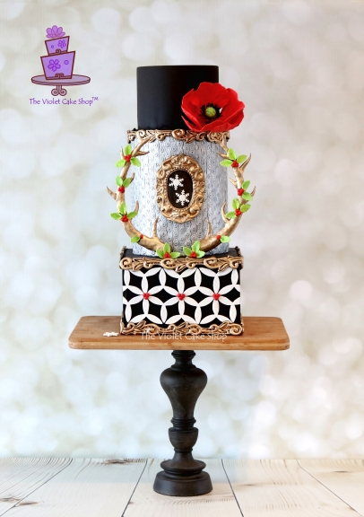 The Violet Cake Shop - Rustic Glam Christmas Cake