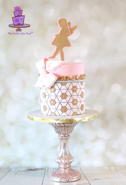 The Violet Cake Shop - Geometric Fairy Cake with Statement Bow