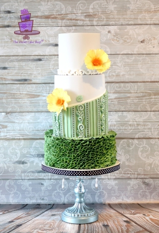 The Violet Cake Shop MIL's Greenery 75th - diagonal stand up ruffles