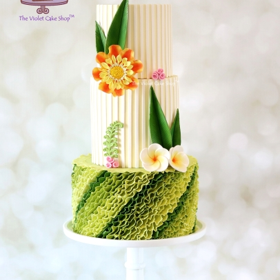 The Violet Cake Shop - Modern Tropical Wedding Cake - Stand Up Ruffles
