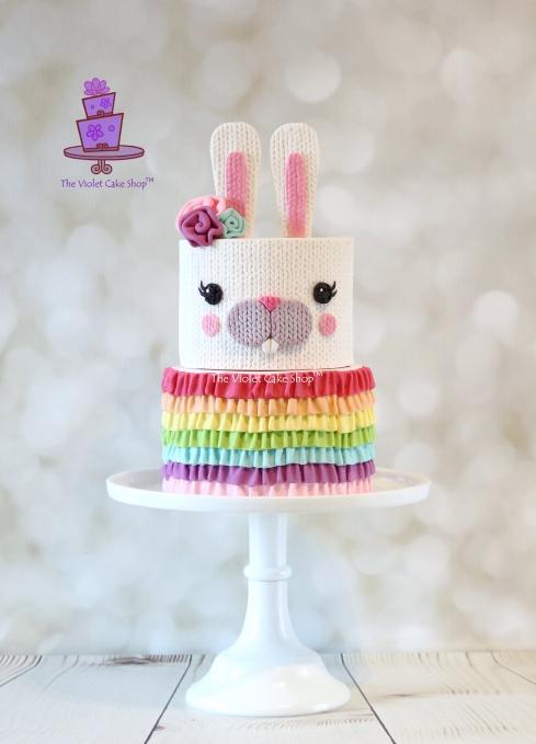 The Violet Cake Shop - Rainbow Ruffle Knit Bunny - IMG_2228 - iv - wm